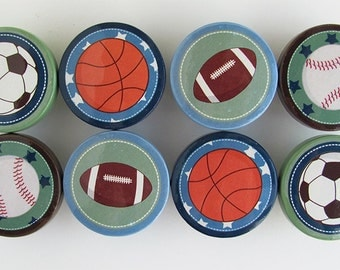 Sports Drawer Knobs, Soccer Knobs, Football, Baseball, Basketball Knobs, Blue, Green, Brown-  Wood Knobs- 1 1/2 Inches