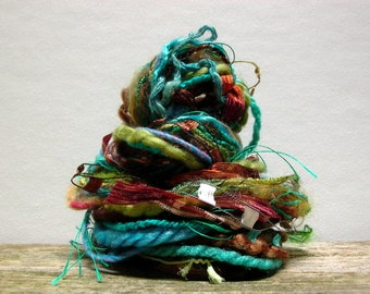woodland stream fringe effects™  21yds of specialty art yarns fiber bundle . turquoise teal blue forest moss green copper brown
