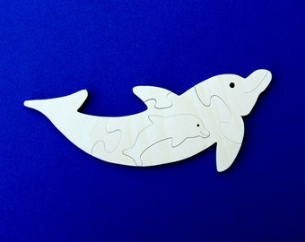 Dolphin Party Favors - Package of 10 Wood Toy Puzzles - Great for a Toddler or Childrens Birthday Party
