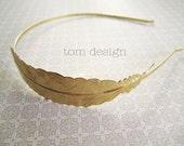 Flight - Golden Shiney Brass Feather Headband, Bride, Bridesmaid, Wedding, Gold, Chevron