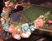 Powder Blue, Pink and Pearls Circlet - BJD accessory - OOAK