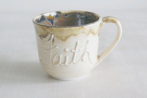Ceramic Faith Cup / Porcelain Faith Mug / Handmade Mug in Yellow and Iron Red