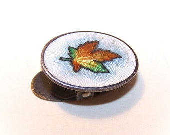 ANTIQUE EDWARDIAN Sterling Silver & Enamel Clip  - Maple Leaf