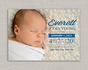 Baby Boy Birth Announcement - Everett