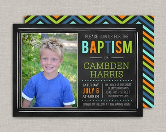 LDS Baptism Invitation - Chalkboard