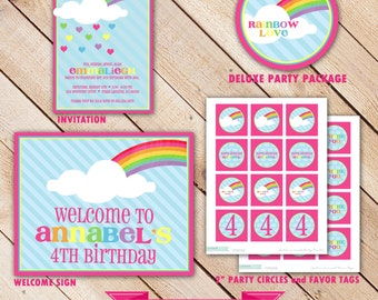 Rainbow Love COLLECTION Deluxe Party Package...Personalized Invitation and Party Printables...by KM Thomas Designs