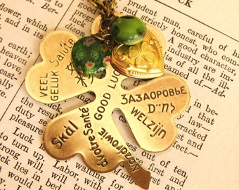 Shamrock Necklace Four Leaf Clover Necklace Large Shamrock Brass Vintage
