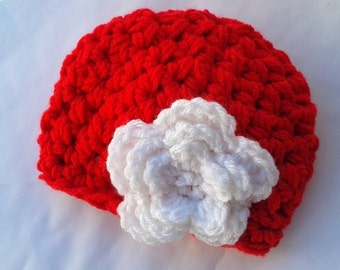 Beanie Hat with Flower, Baby Girl Hat, Baby Girl Beanie, Baby Hat with Flower