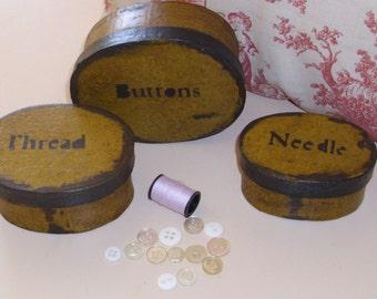 Paper Mache Vintage Button Box