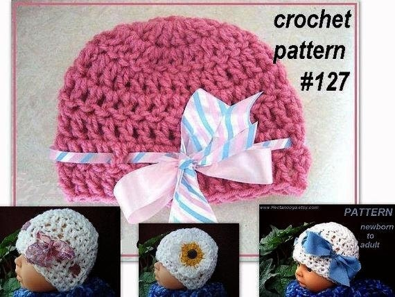 CROCHET PATTERN hat - Mesh Beanie num 127,  Preemie to Adult. ok to sell your finished hats,  instant digital download