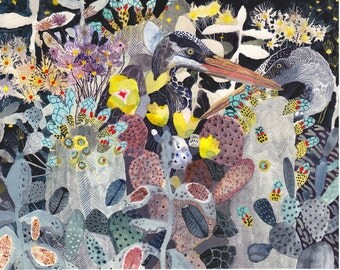Night Garden with Herons- Archival Print