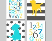 Puppy Dog Nursery Art Decor - Set of FOur 11x14 Prints - Alphabet, Numbers, Stripe Polka Dot Puppy Dogs - CHOOSE YOUR COLORS