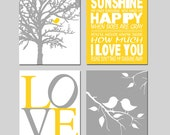 Baby Bird Sunshine Nursery Art - Set of Four 11x14 Prints - You Are My Sunshine, Baby Birds, Love - CHOOSE YOUR COLORS - Yellow and Gray