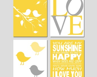 Kids Wall Art - Nursery Quad - Set of Four 8x10 Prints - You Are My Sunshine, Love, Baby Birds on a Branch, Baby Chicks - CHOOSE YOUR COLORS