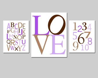 Kids Wall Art - Set of Three Prints - Nursery Wall Art - Modern Alphabet, Love Typography, Numbers - 8x10 and 11x14 - CHOOSE YOUR COLORS