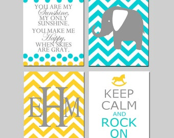 Modern Nursery Art Decor - You Are My Sunshine, Chevron Elephant, Keep Calm Rock On, Monogram - Set of Four 8x10 Prints - CHOOSE YOUR COLORS