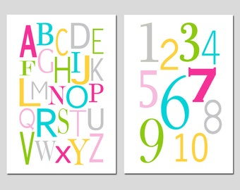 Alphabet and Numbers Nursery Decor - Set of Two 11x17 Nursery Art Prints - CHOOSE YOUR COLORS