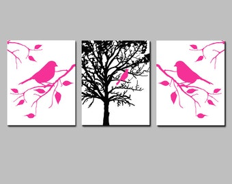 Modern Nature Art Trio - Birds in a Tree Nursery Art - Set of Three 8x10 Prints - CHOOSE YOUR COLORS - Shown in Hot Pink, Black, White
