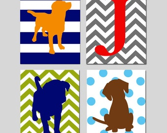 Puppy Dog Nursery Theme Decor - Set of 4 Puppy Nursery Art Prints - Baby Boy Nursery Decor Custom Nursery Art Initial - CHOOSE YOUR COLORS