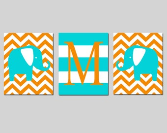 Elephant Nursery Art Trio - Set of Three 8x10 Prints - Chevron Elephants, Striped Initial Monogram - CHOOSE YOUR COLORS