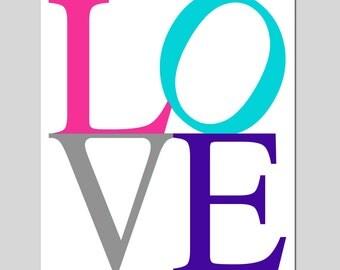LOVE - 8x10 Print - Nursery Decor Nursery Art - Kids Wall Art - Choose Your Colors