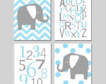 Baby Boy Nursery Art Quad - Chevron Elephant, Modern Alphabet, Numbers, Polka Dot Elephant - Set of Four 8x10 Prints - CHOOSE YOUR COLORS