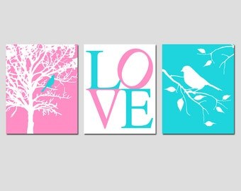Modern Bird LOVE Trio - Set of Three 11x14 Prints - Nursery Wall Art - Choose Your Colors - Shown in Pink, Aqua, Gray, and More
