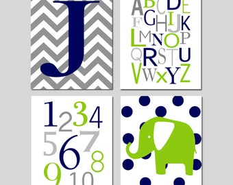 Navy Blue Green Nursery Art Quad - Chevron Initial, Alphabet, Numbers, Polka Dot Elephant - Set of Four 11x14 Prints - CHOOSE YOUR COLORS