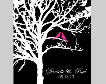 Lovebird Wedding Tree - 8x10 Customizable Print - Anniversary, Wedding Gift - CHOOSE YOUR COLORS - Shown in Black, White, Red, and More