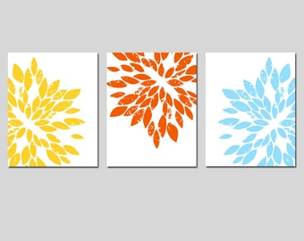 Modern Abstract Painterly Floral Art Trio - Set of Three 11x14 Prints - CHOOSE YOUR COLORS - Shown in Yellow, Red Orange, and More