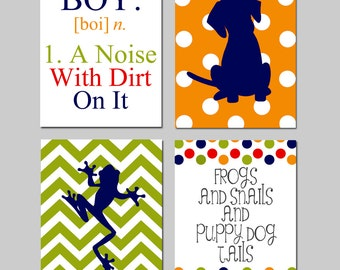 Kids Wall Art - Boy - A Noise With Dirt On It - Set of Four 11x14 Prints - Chevron Frog, Polka Dot Puppy Dog, Snails - Choose Your Colors