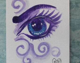 Big Eye, Eye painting, original Watercolor painting, ACEO painting, Aceo eye art