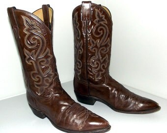 Vintage Brown Leather cowboy boots  - Justin brand size 11.5 D