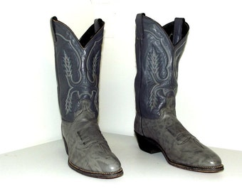 Vintage Cowboy Boots -- Two tone grey leather size 10.5 D or Cowgirl size 12