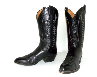 Country Western Panhandle Slim Cowboy boots black leather size 10 B or cowgirl size 11.5 narrow
