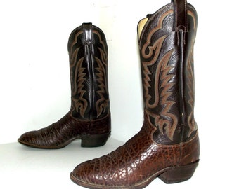 Two tone brown Justin brand cowboy boots size 8 D or cowgirl size 9.5