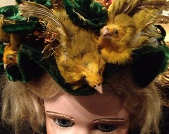 Beautiful Antique Victorian Hat with Taxidermy Birds