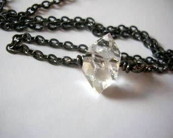 Raw herkimer diamond oxidized silver pendant. Raw herkimer healing crystal necklace.
