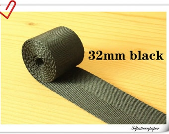 5 yards of 1.25 inch (32mm) Heavy weight Nylon webbing Black ZD4