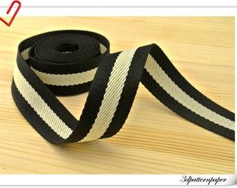 5 yards of pattern Poly webbing 1 inch Bag strap purse strap striped webbing  ZD22