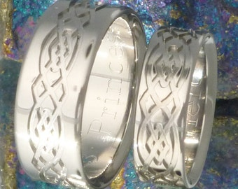 Irish Celtic Titanium Wedding Band Set - His and Hers Matching Rings - Irish Infinity Ring - stck8