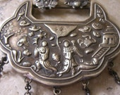 Antique Chinese Repousse Lock Necklace Silver Double Sided