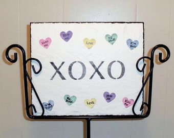 Valentine Conversation Hearts Slate and holder