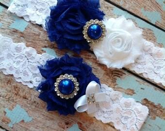 ROYAL BLUE  wedding garter set / bridal  garter/  lace garter / toss garter included /  wedding garter / vintage inspired