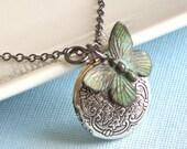 Small Silver Locket  Butterfly Necklace - Locket Necklace, Girl Locket, Keepsake Jewelry, Nature Jewelry