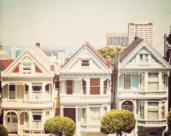 BUY 2 GET 1 FREE San Francisco Photography, Painted Ladies, California Decor, Shabby Chic, Wall Decor, Red, Yellow, Blue - Retro Ladies