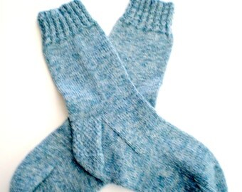 Socks - Hand Knit Women's Blue Socks with Gold Thread - Size 6.5-8