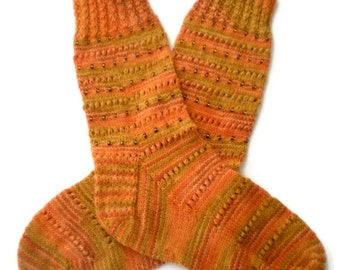 Socks - Hand Knit Women's Pumpkin Socks with Beads - Size 7-9