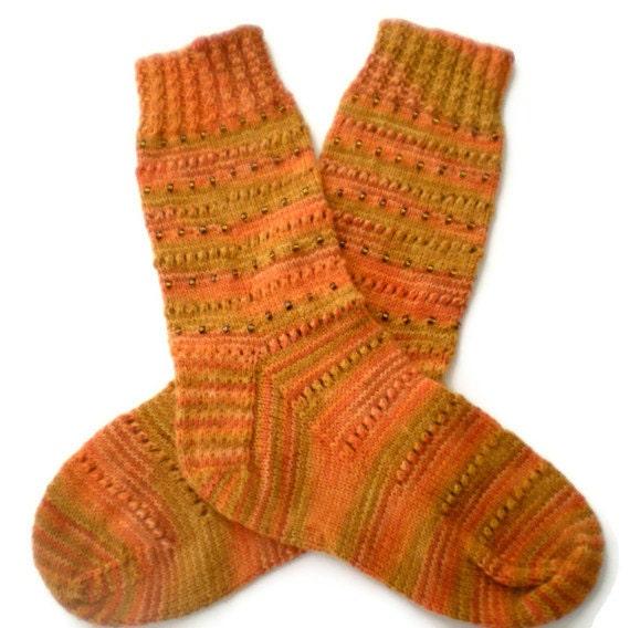 Socks - Hand Knit Women's Pumpkin Socks with Beads - Size 7-9