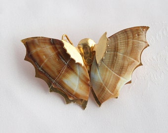 Vintage Shell Butterfly Pin Brooch Vintage Figural Brooch Pin Brown Cream Shell Wings